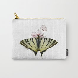 Scarce Swallowtail On Wild Garlic Flowers Vector Isolated Carry-All Pouch