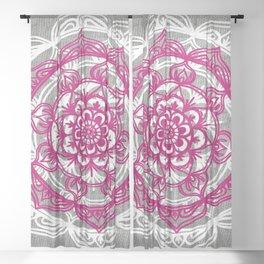 Mandala on Gray Jersey Sheer Curtain