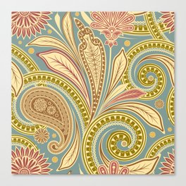 Boho Paisley and Floral Pattern Canvas Print