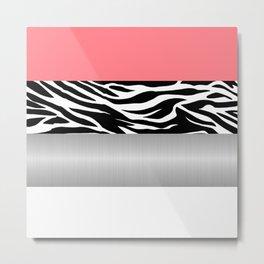 Pink Zebra Metallic White Stripes Horizontal Metal Print