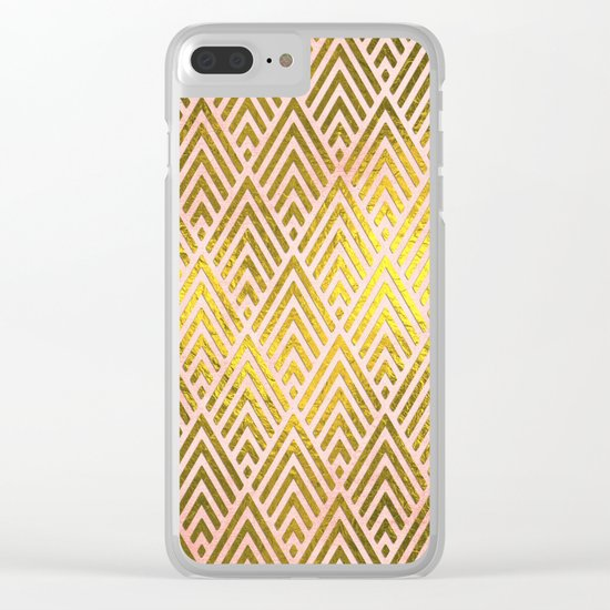 Gold foil triangles on pink - Elegant and luxury triangle pattern Clear iPhone Case