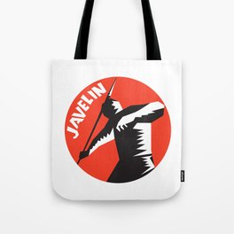 Javelin Throw Track and Field Athlete Circle Woodcut Tote Bag