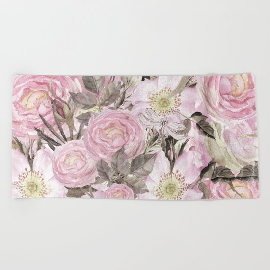 Floral Vintage painterly background in pink with Roses Flowers and insect Beach Towel