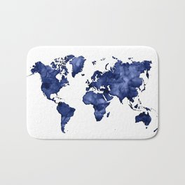 Dark navy blue watercolor world map Bath Mat
