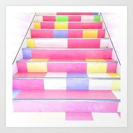 Harajuku Pink Stairs Art Print