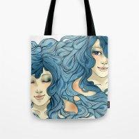 aqua Tote Bags featuring Aqua by saravidigal