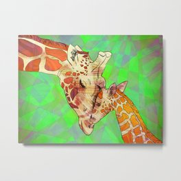 Giraffes, Mother and Baby Metal Print