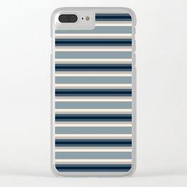 Blue Neutral Stripes Clear iPhone Case