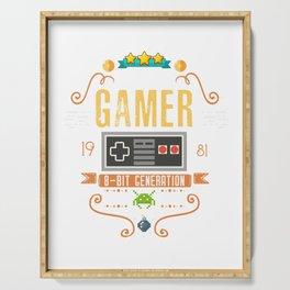 Video Gamer 1981 Birthday Retro Gamer design Gift graphic Serving Tray