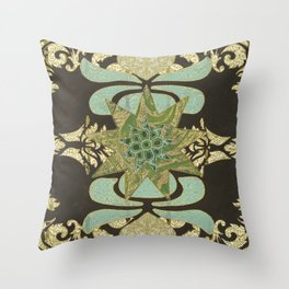 Nine-Pointed Star with Lotus Throw Pillow