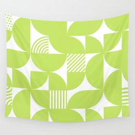 Lime Green Mid Century Bauhaus Semi Circle Pattern Wall Tapestry