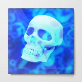 Blue Vapor Skull 💀 Metal Print