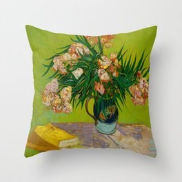 Oleanders Vincent van Gogh Oil On Canvas Floral Still Life Painting Throw Pillow