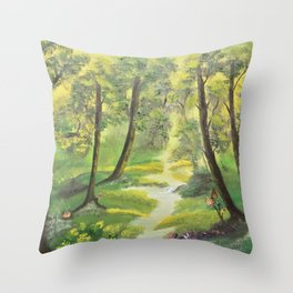 Happy forest with animals Throw Pillow