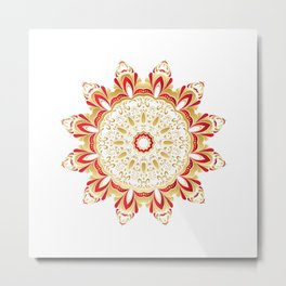 Floral Gold and Red Round Ornament Metal Print