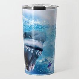 Megalodon attacks Surfer in a Wave Travel Mug