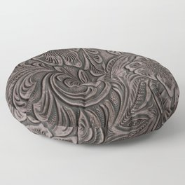 Distressed Smoky Tooled Leather Floor Pillow