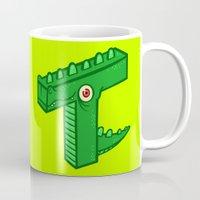 t rex Mugs featuring T-Rex by Artistic Dyslexia