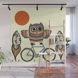Bicycle Owl Wall Mural