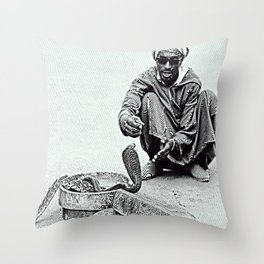 Snake Charmer in Morocco Throw Pillow