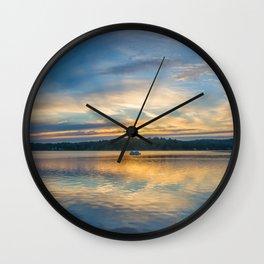 Lake Sunset Boat Cruise Wall Clock