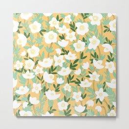 Lemonade Wildflowers in Orange Pattern Metal Print