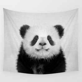 Panda Bear - Black & White Wall Tapestry