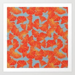 Tumbling Ginkgo Red Art Print