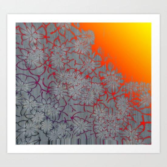 Radient Etched Flowers Art Print