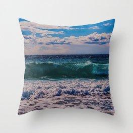 Big Surf at Blue Shutters Beach, Rhode Island Throw Pillow