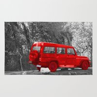 jeep Area & Throw Rugs featuring Red Car by Four Hands Art