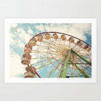 ferris wheel Art Prints featuring ferris wheel by Sylvia Cook Photography