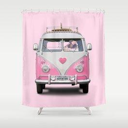 Pug Girly Adventure Shower Curtain