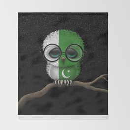 Baby Owl with Glasses and Pakistani Flag Throw Blanket