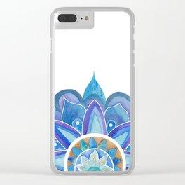 Floral mandala blue Clear iPhone Case