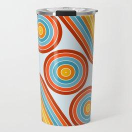 Retro Motion 2 – Orange / Yellow / Blue Abstract Stripe Pattern Travel Mug
