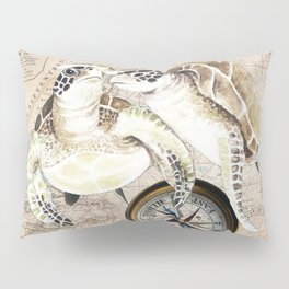 Sea Turtles Compass Map Pillow Sham