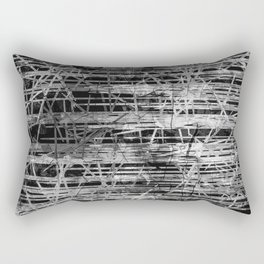 Modern Black and White Etching Abstract Lines Rectangular Pillow