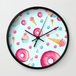 Sugar Sweet Tooth Pattern in Blue Wall Clock
