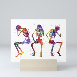 Human Skeletons Sitting & Thinking Colorful Watercolor Art Mini Art Print