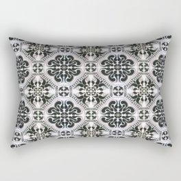 Portuguese Tiles Azulejos Black White Pattern Rectangular Pillow