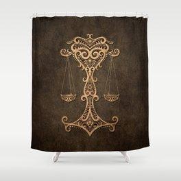 Vintage Rustic Libra Zodiac Sign Shower Curtain