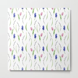 Seamless pattern with watercolor  flowers, tulips, muscari Metal Print