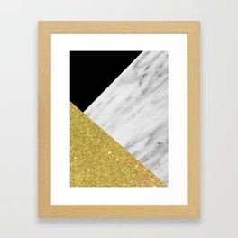 Marble & Gold Geometry Framed Art Print