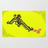 typo Area & Throw Rugs featuring Gun Typo by flyingfawazo