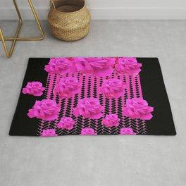 MODERN BLACK ART CERISE PINK ROSE GARDEN Rug
