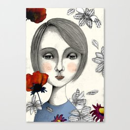 young thinking woman Canvas Print