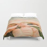 peach Duvet Covers featuring Peach Poinsettias  by Pure Nature Photos