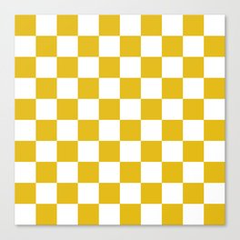 Mustard Yellow Checkers Pattern Canvas Print