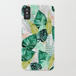 Tropical jungle white iPhone Case